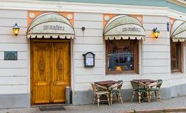 咖啡馆在老里加市,拉脱维亚 免版税库存图片
