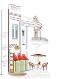 咖啡馆城市舒适视图 免版税库存照片