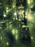 咖啡馆大阳台在晚上在欧洲城市 免版税库存照片
