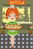 咖啡馆女孩薄饼 图库摄影
