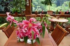 咖啡馆庭院百合粉红色 图库摄影