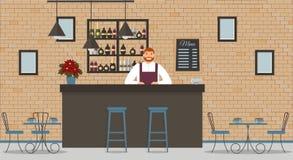 咖啡馆或酒吧内部在顶楼样式 酒吧柜台、侍酒者白色衬衫的和围裙,桌,一品红,不同椅子和嘘 皇族释放例证