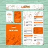 咖啡馆或餐馆身分模板 免版税库存图片