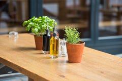 咖啡馆桌用草本和调味品 库存照片