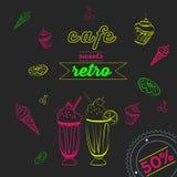 咖啡馆氖 向量例证