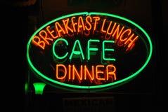 咖啡馆氖 免版税库存照片