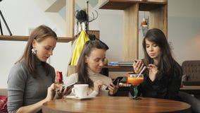 咖啡馆的三个妇女女朋友浏览他们的手机 友好的会议在咖啡馆 股票录像