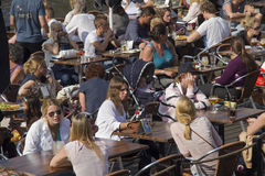 咖啡馆的人们 免版税库存照片