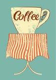 咖啡馆的咖啡印刷葡萄酒样式难看的东西海报 咖啡杯表 例证减速火箭的向量 免版税图库摄影