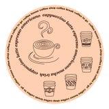 咖啡馆的咖啡标签 免版税库存图片