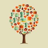 咖啡馆的咖啡饮料象集合树概念 库存例证