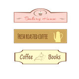 咖啡馆的,商店,酒吧三个标志 免版税图库摄影