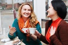 咖啡馆的滑稽的女朋友 免版税库存图片