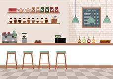 咖啡馆空的内部 与白色酒吧柜台、架子和设备的咖啡店 免版税库存照片