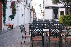 咖啡馆空的大阳台 库存图片