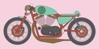 咖啡馆竟赛者摩托车传染媒介艺术 免版税库存照片