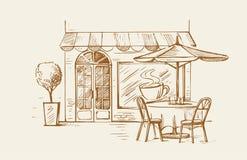 咖啡馆老街道城镇 免版税库存图片