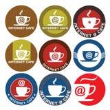 咖啡馆设计互联网徽标 免版税库存照片