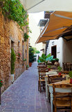 咖啡馆露天在希腊 图库摄影