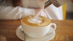 咖啡馆饮用的咖啡的年轻女人,慢动作 股票视频