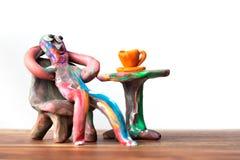 咖啡馆黏土人 图库摄影