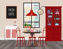 咖啡馆,厨房,减速火箭的样式的餐厅室内设计  传染媒介平的例证 被隔绝的传染媒介对象 库存照片