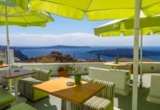 咖啡馆@桑托林岛 免版税图库摄影