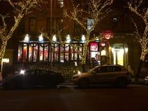 咖啡馆Lalo,上部西侧, NY- Christmastime 库存图片