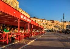 咖啡馆Senequier,圣特罗佩,法国 图库摄影