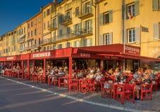 咖啡馆Senequier,圣特罗佩,法国 免版税库存照片