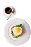 咖啡鸡蛋油煎了 免版税库存照片