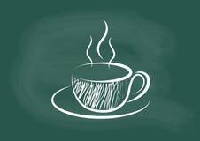 咖啡,咖啡图画传染媒介在黑板白垩的 免版税库存图片