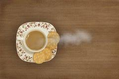 咖啡,杯子,饼干 免版税库存照片