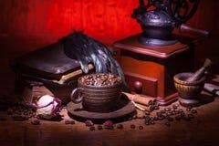 咖啡,烘干玫瑰色和研磨机 免版税库存图片