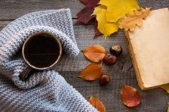 咖啡,舒适被编织的围巾,在木板的秋叶 仍然秋天生活 hygge 免版税库存照片