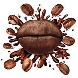 咖啡嘴唇概念 免版税库存图片