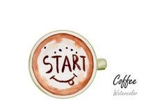 咖啡 在白色背景,传染媒介例证的手拉的水彩绘画 免版税库存照片