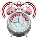 咖啡更多时间 有题字的闹钟 免版税库存图片