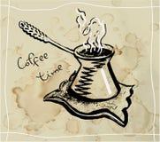 咖啡cezve 线描 皇族释放例证