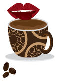 咖啡eps口味舌头 免版税库存图片