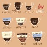 咖啡infographics手中图画拼贴画样式传染媒介例证集合 免版税库存图片