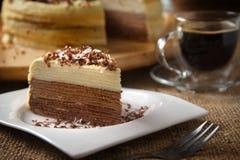 咖啡Mille绉纱蛋糕 库存照片