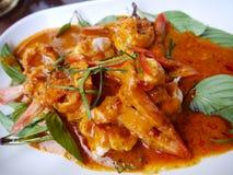 咖喱油煎的虾或大虾 库存图片