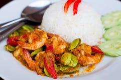 咖喱油煎的虾蔬菜 库存图片