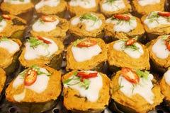 咖喱被蒸的鱼酱 免版税图库摄影