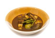 咖喱辣vegelable和鱼格栅 免版税库存图片
