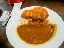 咖喱饭用猪肉炸肉排 免版税库存图片