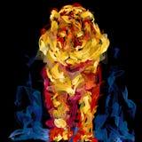 咧嘴笑的明亮的火焰老虎 免版税库存图片