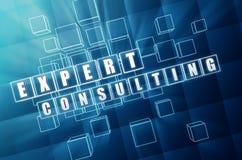 咨询在蓝色玻璃多维数据集的专家 免版税库存照片
