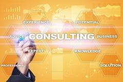 咨询的企业概念 文本和象在虚屏上 图库摄影